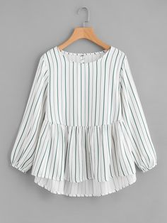 design of blouse Shop Frill Hem High Low Blouse online. SheIn offers Frill Hem High Low Blouse & more to fit your fashionable needs. Stylish Dresses For Girls, Stylish Dress Designs, Designs For Dresses, Trendy Outfits, Casual Dresses, Teen Dresses, Midi Dresses, Club Outfits, Club Dresses