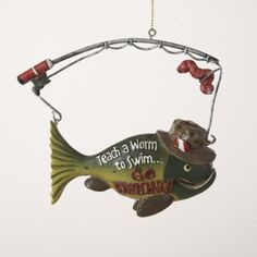 "$95.00-$114.99 ""Teach a Worm to Swim"" Fish Christmas Ornaments Item #A0883  Liven up your Christmas tree with these fish ornaments Humorous ornaments read ""Teach a Worm to Swim...Go Fishing!"" Fully dimensional ornaments Come ready-to-hang on gold cords  Dimensions: 4""H Material(s): resin  Pack includes 12 of the ornament shown"