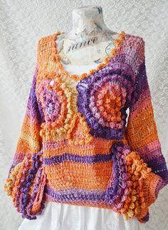 Bohemiancrochet sweater Beautiful  Owl by irinacarmen on Etsy, $97.00