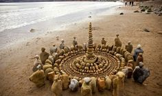 Strolling through his hometown of Yorkshire, England, British artist James Brunt finds artistic inspiration through almost any natural materials he can get his hands on. Whether walking along the beach or taking a forest stroll, Brunt creates intricate mandala-inspired designs out of fallen leaves, twigs or sea rocks. The determined artist will spend entire days on his land art, only to see it disappear under the rising tide waters.