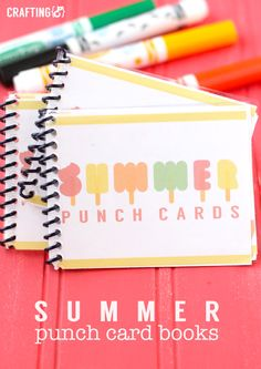 Do you need a way to keep you kids busy this summer? These summer punch cards will do the trick and I've redesigned them to be even easier and functional! Crazy Quilting, Summer Activities For Kids, Summer Kids, Kid Activities, Summer Punch, Summer Schedule, Kids Schedule, Card Book, Chores For Kids