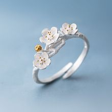 The cherry blossom branch resizable open ring in white copper silver plated, medium(China (Mainland))