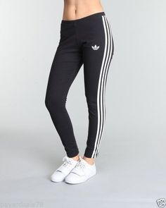 WOMEN'S 2XL ADIDAS 3 STRIPE LEGGINGS BLACK & WHITE TIGHTS PANTS RUNNING YOGA #Fashion #Adidas #Deal