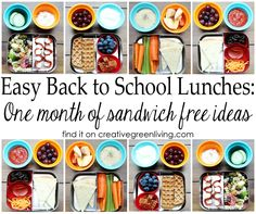 Easy packed lunch ideas: A whole month of sandwich free ideas! Lots of great tips for better ways to pack lunches, too.