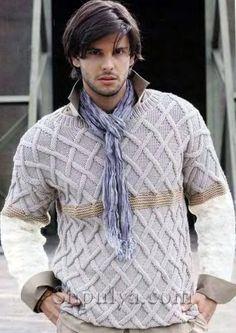 Мужской пуловер с бежевой полоской, вязаный спицами