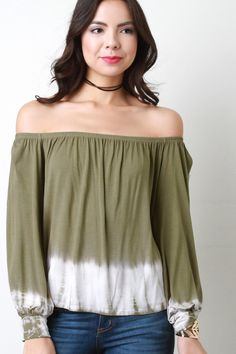 Off The Shoulder Tie Dye Hem Top – Style Lavish