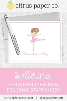 Personalized stationery, just for kids! Each set of folding note cards is printed on high-quality white cardstock, includes your choice of envelopes, and is packaged in a crystal clear box. Perfect for casual correspondence or thank you notes, these note cards make the perfect gift! \\ girls stationery \\ kids stationery \\ colorful name \\ personalized \\ ballerina \\ ballet \\ dance Kids Stationery, Custom Stationery, Personalized Stationery, Note Cards, Thank You Cards, Stationary Set, Papers Co, Just Kidding, Folded Cards