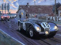 Nicholas Watts, 'Jaguar at Whitehouse - Le Mans 21 x Le Mans, Vintage Racing, Vintage Cars, British Sports Cars, Car Painting, Turner Painting, Car Illustration, Artwork Display, Car Posters