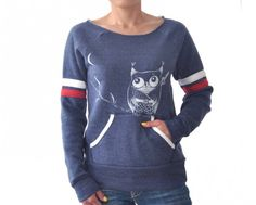 Japanese inspired kawaii,edgy Ninja Owl Sport Stripe maniac off the shoulder sweatshirt