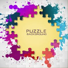 Puzzle pieces and colorful paint splashes Free Vector Paint Splash, Color Splash, Manchas Vector, Geometric Background, Geometric Shapes, Bolo Do Sport, Victorian Frame, Backrounds, Name Cards