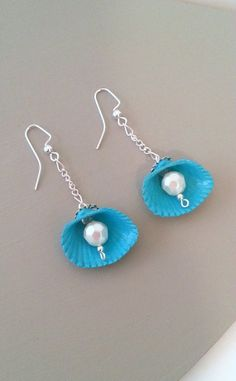 Caribbean seashell earrings hand painted clam by beachseacrafts, $11.00