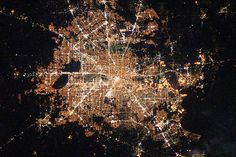 Houston, Texas at Night Here's a nice view of Houston, Texas at night as seen from the International Space Station on February This photo was taken by the crew member of the Expedition 22 mission. Houston, Texas is the world's energy capital. Heinrich Böll, Galveston Bay, City Grid, Earth City, Nasa Images, Nasa Photos, Futuristic City, H Town, Image Of The Day