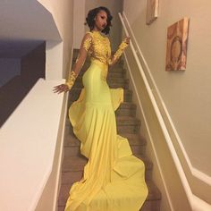 Sexy African Black Girl Yellow Mermaid Prom Dresses 2017 Court Train Appliques Lace Long Sleeve Prom Dress Evening Party Dress