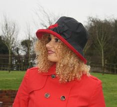 Black Scarlet Red Waxed Rainhat, Glamorous Rainproof All Year Round Hat, Packable Crushable Travel Rain Hat, Gift for Her, One Size Fits ALL Summer Hats, Winter Hats, British Hats, Zara Hats, Rain Hat, Winter Chic, Tall Women, Hat Sizes, Zara Black
