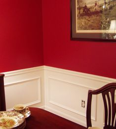adding picture molding to the dining room - Dining Room Red Paint Ideas