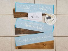 DIY Wood Sign Kit | Various Designs | Plank Stained Board Diy Wood Signs, Rustic Wood Signs, Custom Stencils, Stencil Designs, Craft Kits, Diy Kits, Nursery Wood Sign, Make Your Own Sign, Hand Painted Walls