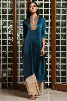 Shop Kiran Uttam Ghosh Pleated Tunic , Exclusive Indian Designer Latest Collections Available at Aza Fashions Patiala, Salwar Kameez, Kurti, Ethnic Gown, Pleated Fabric, Indian Suits, Mandarin Collar, Party Wear, Fashion Tips