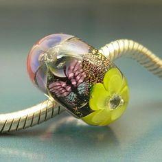 Flowers & Butterflies ~ Handmade European Charm Bead