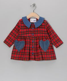 Red Plaid Flannel Dress - Toddler