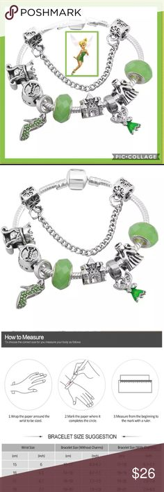 """Disney Tinkerbell Girls Charm Bracelet Beautiful Disney Charms incl heel w/ green zirconia, Disney Castle & faceted crystal/glass on a Tension Mounted """"Snake chain"""" bracelet Plated in 925 Silver, has a hidden safety clasp-perfect for the young ones!   Completely Environmentally friendly, both Lead & Nickel free as well as Allergy-Free. See Maintenance Info above. Size 16 mm+. Will fit most wrists. The more charms added the longer the bracelet, See Sizing Guide as reference  Pair with…"""