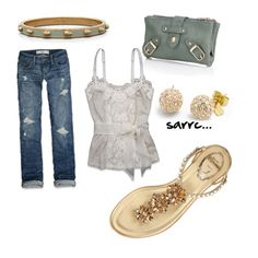 Ivory Abercrombie cami and jeans, gold sandals-love