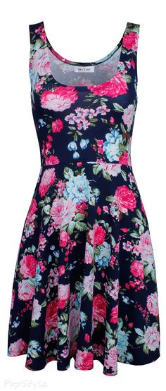 Tom's Ware Womens Casual Fit & Flare Floral Sleeveless Dress