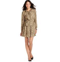 LOFT Petite Cheetah Print Ruffle Collar Shirt Dress