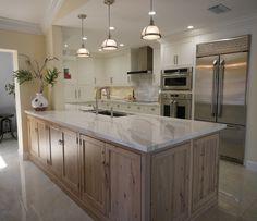 White Kitchen with Driftwood Peninsula