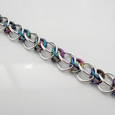 Alternating Half Persian 3-in-1 (Sterling Silver & Niobium) | Maille Addiction