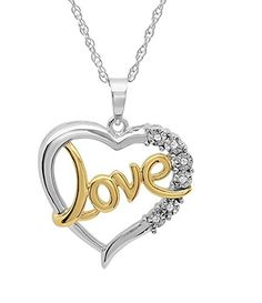 Sterling Silver and Diamond Love in Heart PendantNecklace on an 18in Chain >>> ** AMAZON BEST BUY **