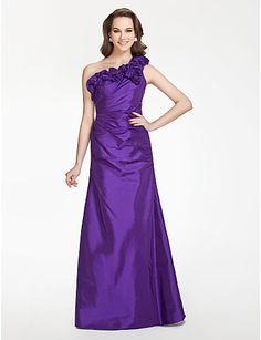 A-line One shoulder Floor-length Taffeta Bridesmaid Dress With Flower