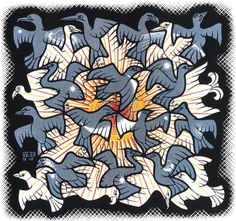 "M.C. Escher, ""Sun and Moon,"" 1948."