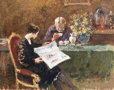 A leitura do jornal, s/d Vincenzo Irolli (Itália, 1860-1949) óleo sobre tela, 30 x 38 cm