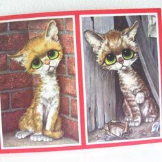 Big Eyed Pity Kitty Kittens Litho Art Print by Gig