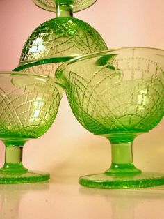 3   Green Depression Glass Romanesque Sherbet by CaliforniaKitsch, $19.00