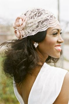 Handmade Bridal Cap in Soft Lace and Blush Dupioni Silk with Sparkle