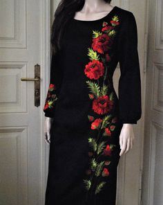 Hand embroidered Cotton dress with poppies Midi black dress Dress with embroidery long sleeved dress