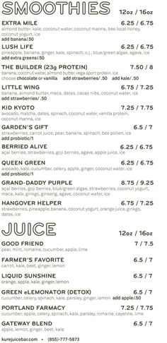 Menu   KURE Juice Bar