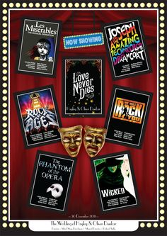 images of musicals | Stylish table plan with Musicals posters for table names.