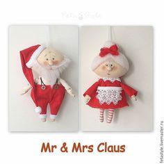 Куклы Тильды ручной работы. Ярмарка Мастеров - ручная работа. Купить Mr & Mrs Claus Текстильная кукла - подвеска Игрушка на елку. Handmade.