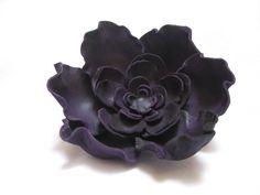 Handmade leather flower pin brooch purple violet by ProninA, $43.00