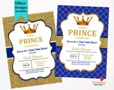 prince baby shower invitation royal blue gold baby by honeyprint