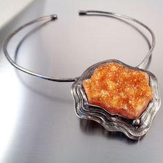 Citrine Druzy Necklace,  Natural raw citrine crystal druzy statement necklace