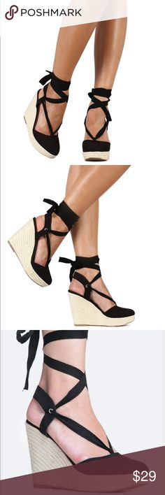 ❗️mark down❗️Black ankle strap wedge Black ankle strap wedge Shoes Wedges