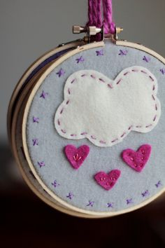 Embroidery Hoop Art. Raining Pink Hearts. Handstitched Felt Cloud and Hearts by Catshy Crafts. via Etsy