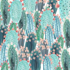 Cacti/Succuclent watercolour pattern