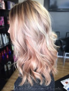 Blonde and pastel pink / rose gold hair colour. Shop our hair colours here > http://bit.ly/1ZyHP5M