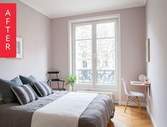 Before & After: See Which Colour Katy Painted Her Bedroom — Farrow & Ball Peignoir Farrow Ball, Farrow And Ball Paint, Home Bedroom, Master Bedroom, Bedroom Decor, Bedroom Apartment, Bedroom Ideas, Calm Bedroom, Budget Bedroom