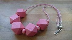 Chunky pink polygon geometric wooden necklace £15.00