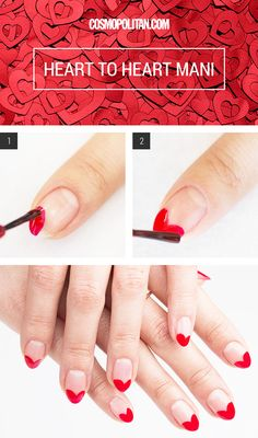 HEART NAIL ART FOR VALENTINE'S DAY: This red heart mani is just as easy as it is adorable. Nail artist Simcha Whitehill aka Miss Pop shows you how to get the look below. DIY this manicure at home with red polish and a top coat polish — that's it! Click through for the full tutorial.